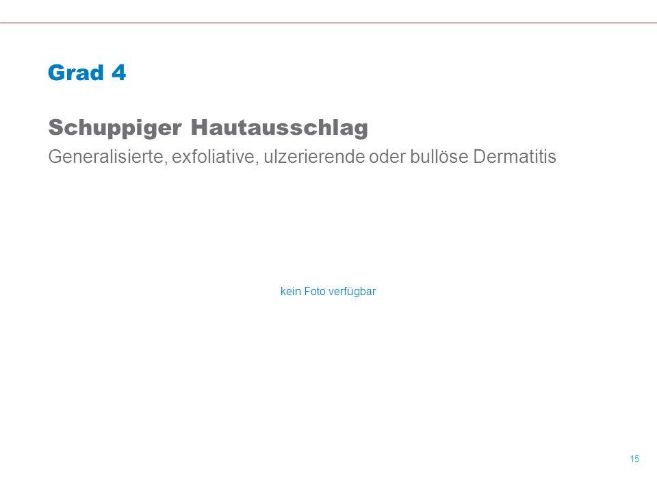 15 Grad 4 Schuppiger Hautausschlag Generalisierte, exfoliative, ulzerierende oder bullöse Dermatitis kein Foto verfügbar