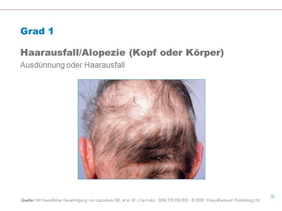 30 Grad 1 Haarausfall/Alopezie (Kopf oder Körper) Ausdünnung oder Haarausfall Quelle: Mit freundlicher Genehmigung von Lacouture ME, et al.