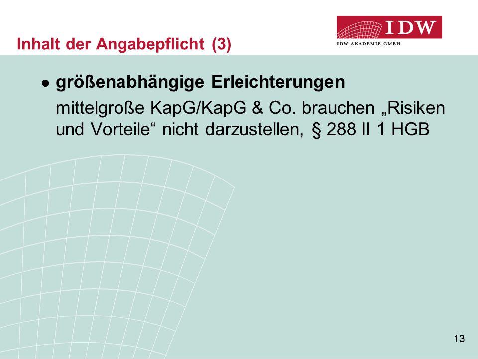 """13 Inhalt der Angabepflicht (3) größenabhängige Erleichterungen mittelgroße KapG/KapG & Co. brauchen """"Risiken und Vorteile"""" nicht darzustellen, § 288"""