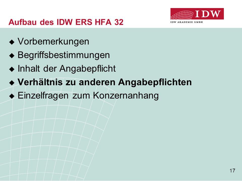 17 Aufbau des IDW ERS HFA 32  Vorbemerkungen  Begriffsbestimmungen  Inhalt der Angabepflicht  Verhältnis zu anderen Angabepflichten  Einzelfragen