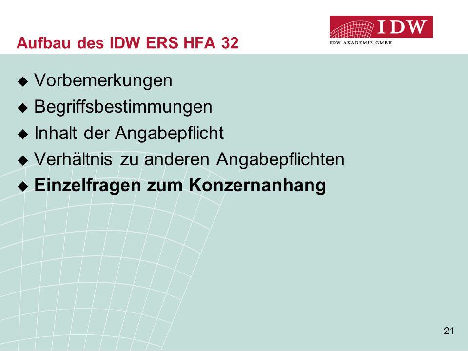 21 Aufbau des IDW ERS HFA 32  Vorbemerkungen  Begriffsbestimmungen  Inhalt der Angabepflicht  Verhältnis zu anderen Angabepflichten  Einzelfragen