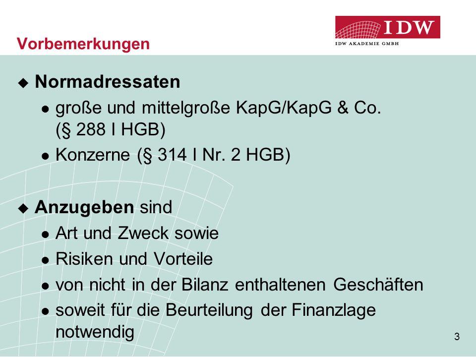 14 Inhalt der Angabepflicht (4) Beispiel 1  Die X-GmbH (Gewinn pro Jahr 1.500 TEUR, Bilanzsumme 2.000 TEUR) hat neue Rechner im Wert von 20 TEUR bestellt da es sich am Abschlussstichtag um ein gewöhn- liches schwebendes Geschäft handelt => kein Niederschlag in der Bilanz zum Abschlussstichtag keine Angabepflicht, da die bestellten Vermögens- gegenstände später Eingang in die Bilanz finden