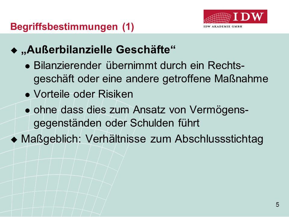 """16 Inhalt der Angabepflicht (6)  Vorschlag für Anhangangabe der Y-GmbH """" Die Y-GmbH hat Leasingverträge für Anlagen mit einer Belastung von 500 TEUR p.a."""