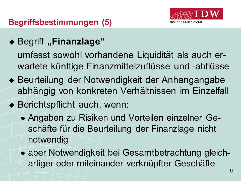20 Verhältnis zu anderen Angabepflichten (3)  Bezüglich nicht zum beizulegenden Zeitwert bilan- zierter derivativer Finanzinstrumente besteht mit §§ 285 Nr.