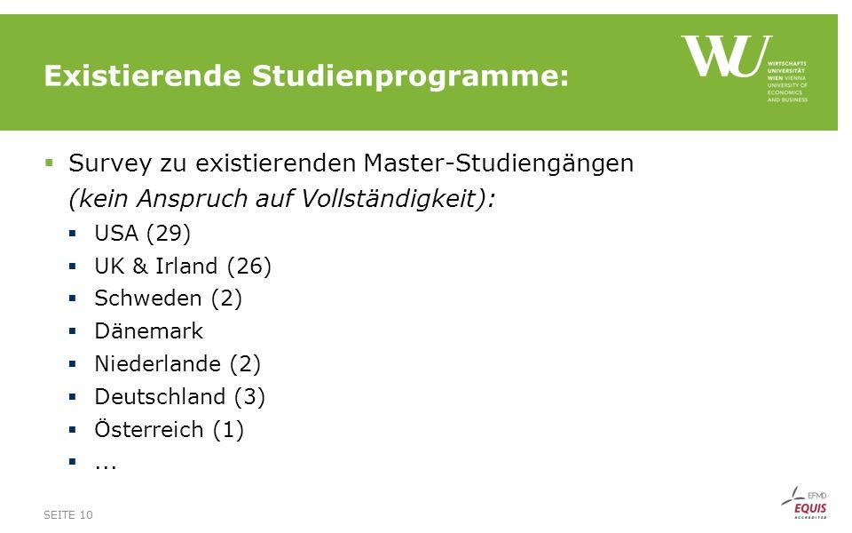 Existierende Studienprogramme:  Survey zu existierenden Master-Studiengängen (kein Anspruch auf Vollständigkeit):  USA (29)  UK & Irland (26)  Sch