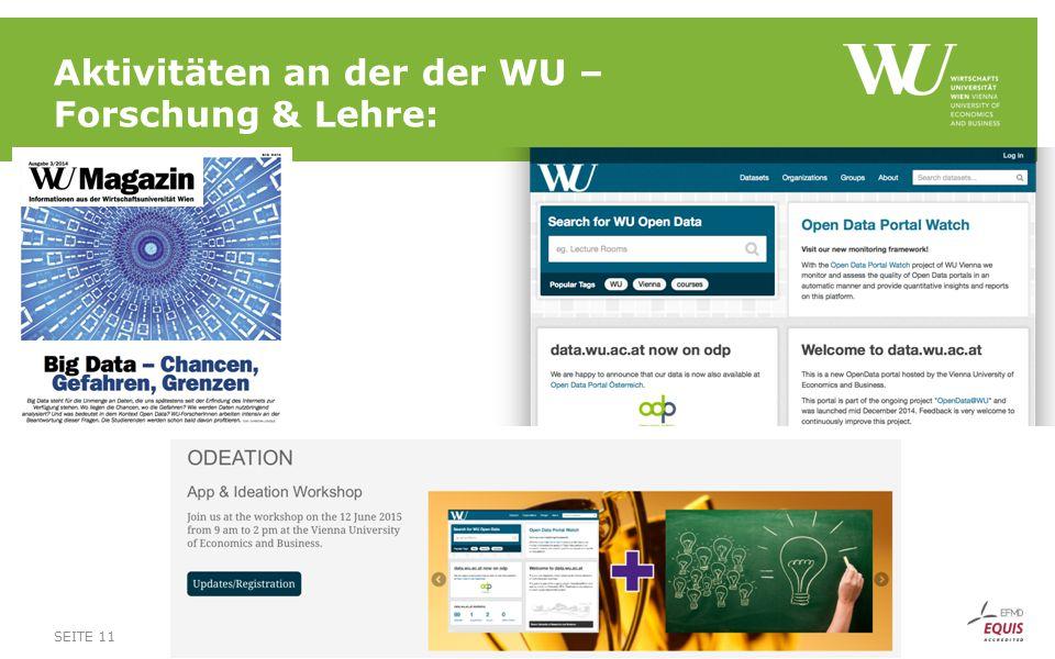SEITE 11 Aktivitäten an der der WU – Forschung & Lehre: