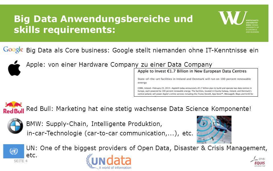 Big Data Anwendungsbereiche und skills requirements:  Big Data als Core business: Google stellt niemanden ohne IT-Kenntnisse ein  Apple: von einer H
