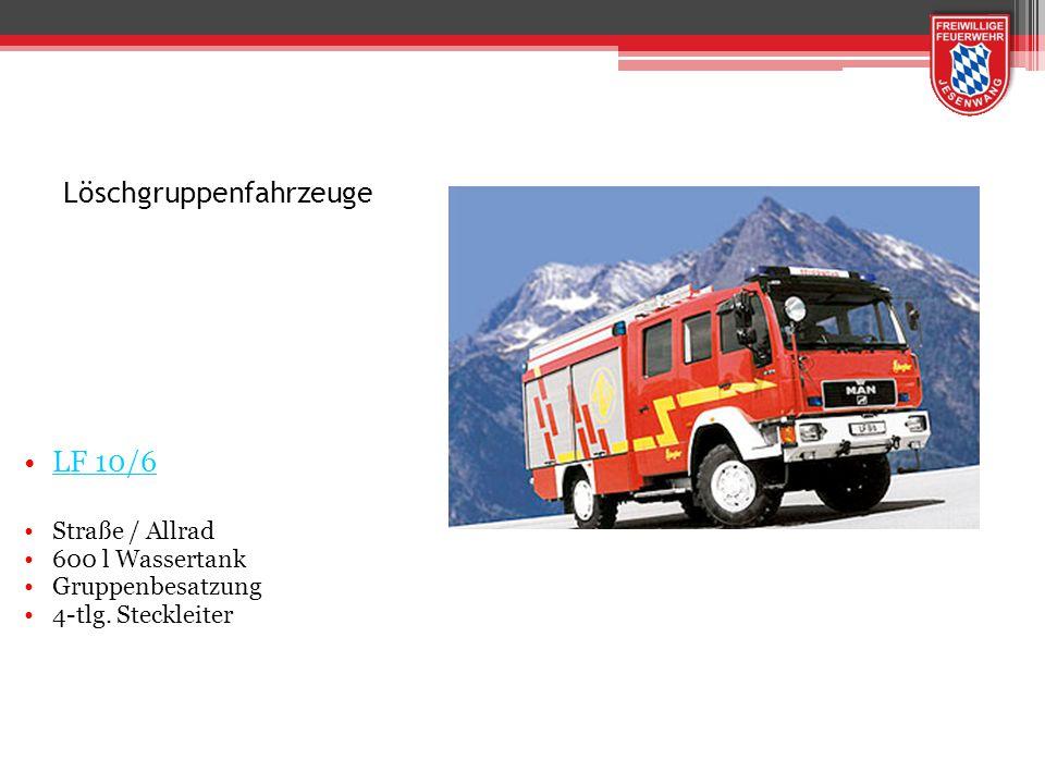 Systematik der Normbezeichnung LF 10 / 6 Löschgruppenfahrzeug Feuerlöschkreiselpumpe Nennförderstrom 1000 l/min Löschwasserbehälter mit einem Nutzbaren Inhalt von 600 Liter