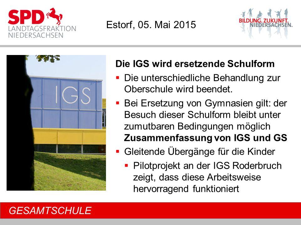 GESAMTSCHULE Die IGS wird ersetzende Schulform  Die unterschiedliche Behandlung zur Oberschule wird beendet.