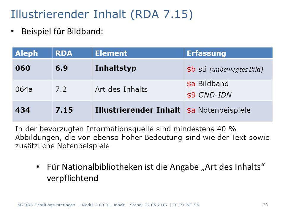 Illustrierender Inhalt (RDA 7.15) AG RDA Schulungsunterlagen – Modul 3.03.01: Inhalt | Stand: 22.06.2015 | CC BY-NC-SA 20 AlephRDAElementErfassung 060