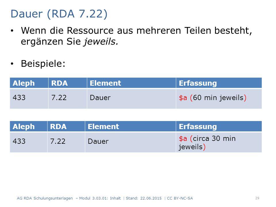 Dauer (RDA 7.22) AG RDA Schulungsunterlagen – Modul 3.03.01: Inhalt | Stand: 22.06.2015 | CC BY-NC-SA 29 AlephRDAElementErfassung 4337.22Dauer$a (60 min jeweils) AlephRDAElementErfassung 4337.22Dauer $a (circa 30 min jeweils) Wenn die Ressource aus mehreren Teilen besteht, ergänzen Sie jeweils.