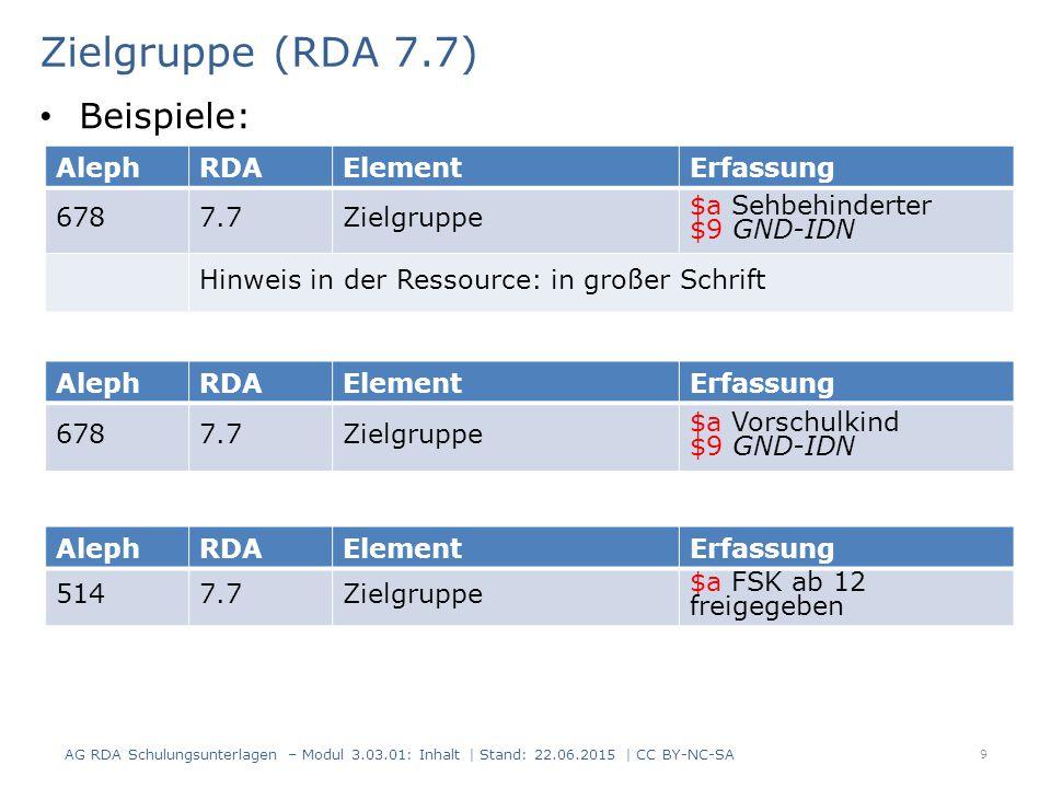 Zielgruppe (RDA 7.7) AG RDA Schulungsunterlagen – Modul 3.03.01: Inhalt | Stand: 22.06.2015 | CC BY-NC-SA 9 AlephRDAElementErfassung 6787.7Zielgruppe