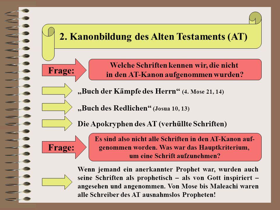 """2. Kanonbildung des Alten Testaments (AT) Frage: Welche Schriften kennen wir, die nicht in den AT-Kanon aufgenommen wurden? """"Buch der Kämpfe des Herrn"""