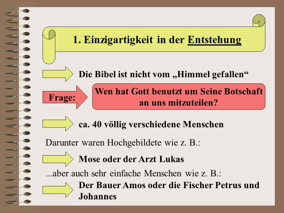 II.Die Inspiration der Bibel Das biblische Zeugnis zur Inspiration a) 2.