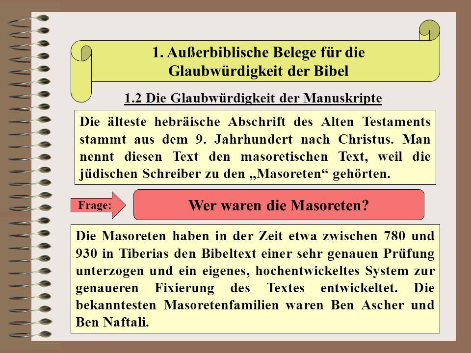 1. Außerbiblische Belege für die Glaubwürdigkeit der Bibel 1.2 Die Glaubwürdigkeit der Manuskripte Die älteste hebräische Abschrift des Alten Testamen