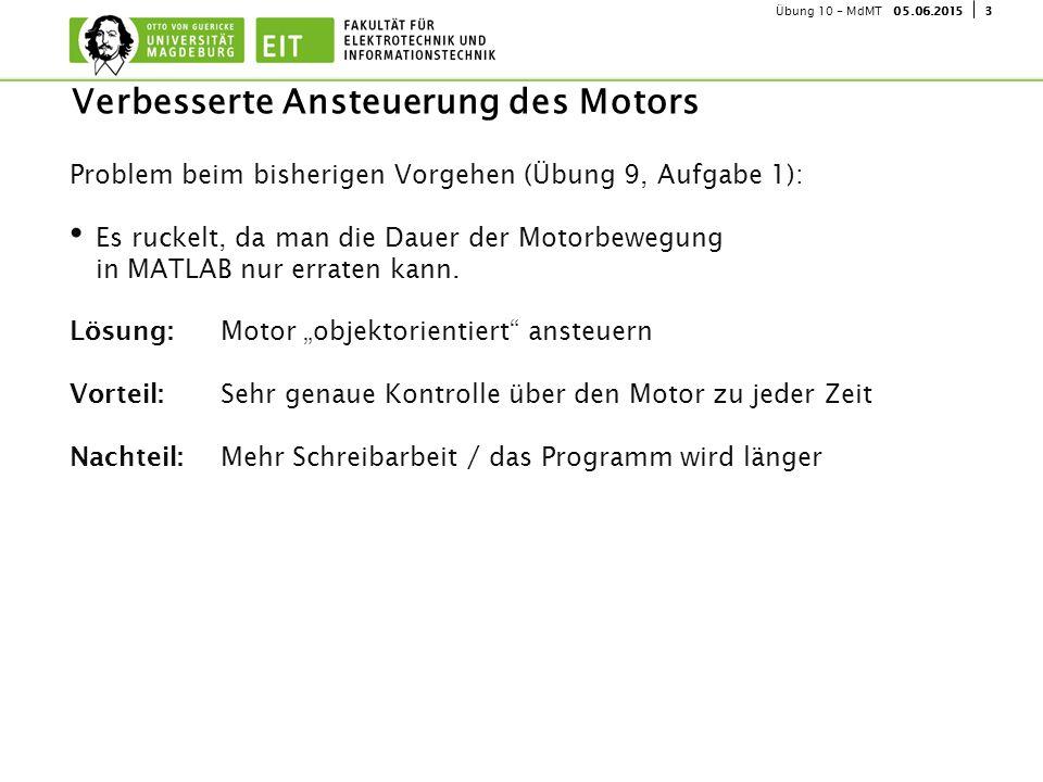 405.06.2015Übung 10 - MdMT Einfache Ansteuerung LEGO-Motor % Bisher: NXC_MotorControl(MOTOR_A,50,100, false , Brake , true ); %...