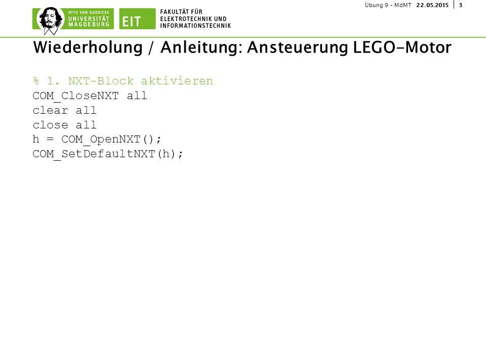 322.05.2015Übung 9 - MdMT Wiederholung / Anleitung: Ansteuerung LEGO-Motor % 1. NXT-Block aktivieren COM_CloseNXT all clear all close all h = COM_Open