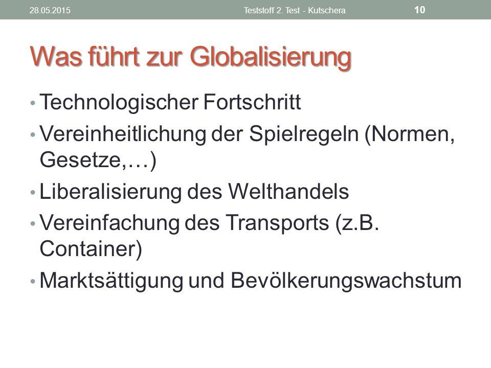 Was führt zur Globalisierung Technologischer Fortschritt Vereinheitlichung der Spielregeln (Normen, Gesetze,…) Liberalisierung des Welthandels Vereinf