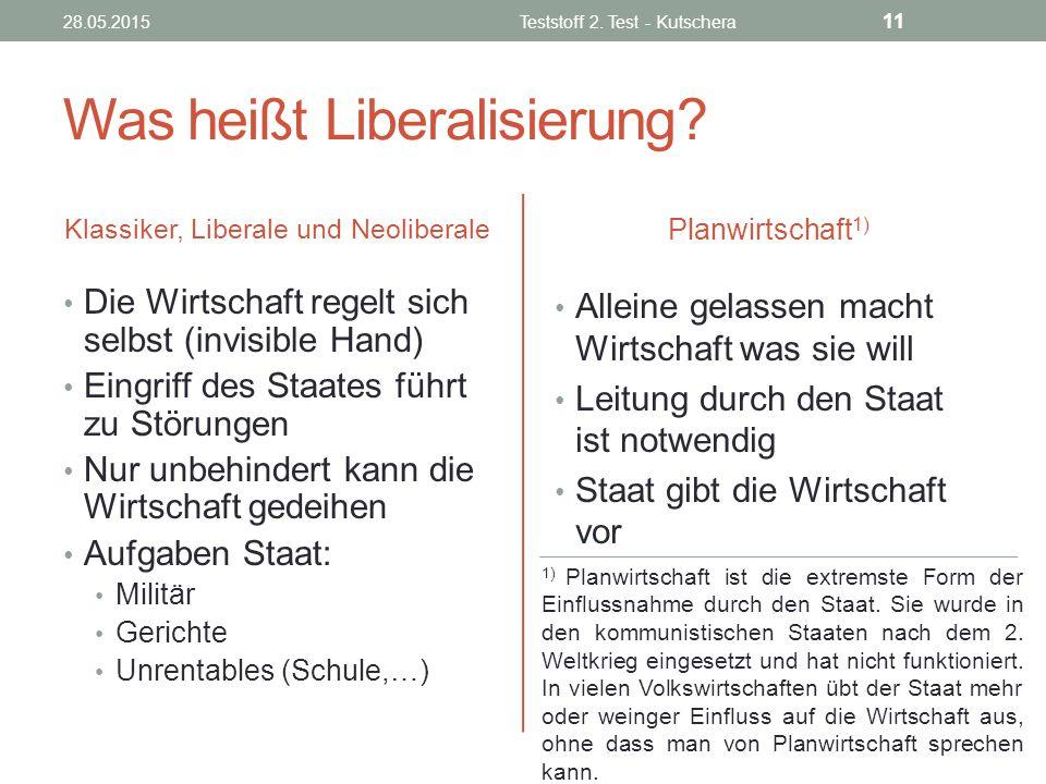 Was heißt Liberalisierung? Klassiker, Liberale und Neoliberale Die Wirtschaft regelt sich selbst (invisible Hand) Eingriff des Staates führt zu Störun