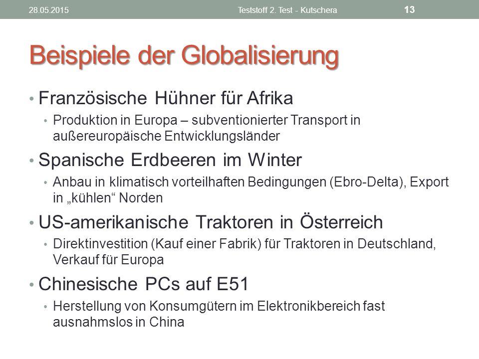 Beispiele der Globalisierung Französische Hühner für Afrika Produktion in Europa – subventionierter Transport in außereuropäische Entwicklungsländer S