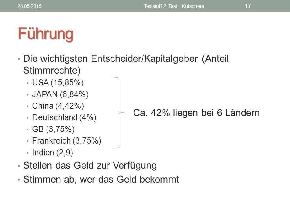 Führung Die wichtigsten Entscheider/Kapitalgeber (Anteil Stimmrechte) USA (15,85%) JAPAN (6,84%) China (4,42%) Deutschland (4%) GB (3,75%) Frankreich
