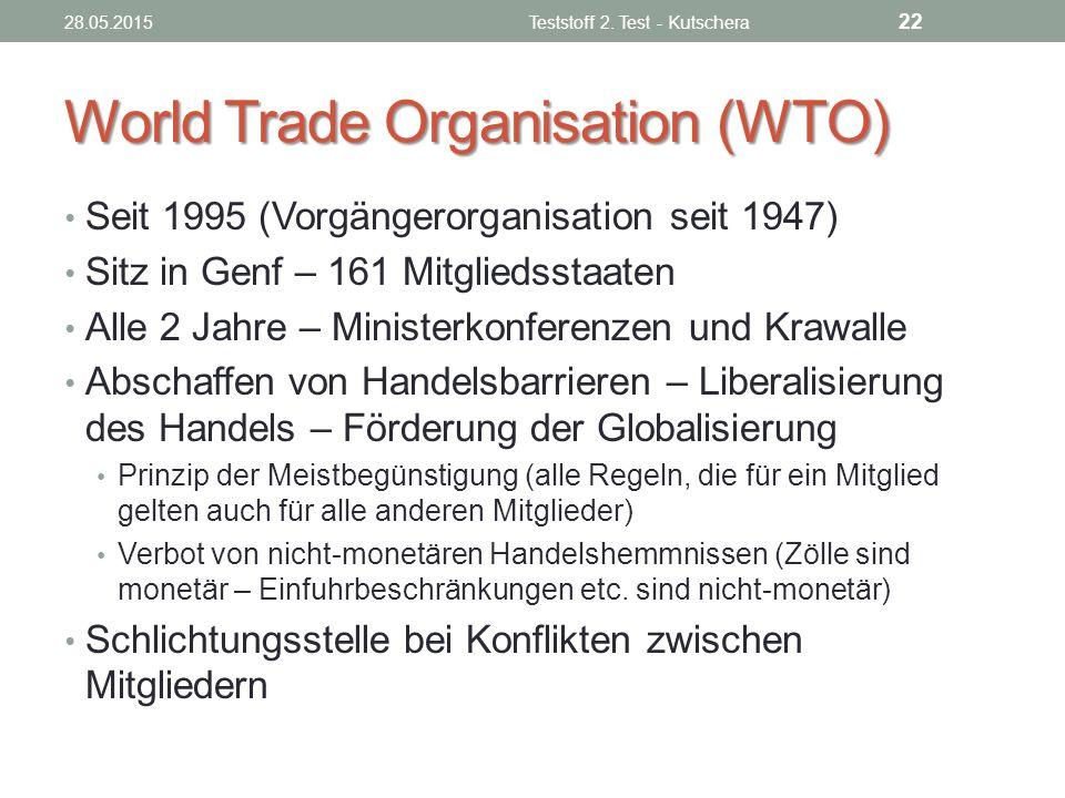 World Trade Organisation (WTO) Seit 1995 (Vorgängerorganisation seit 1947) Sitz in Genf – 161 Mitgliedsstaaten Alle 2 Jahre – Ministerkonferenzen und