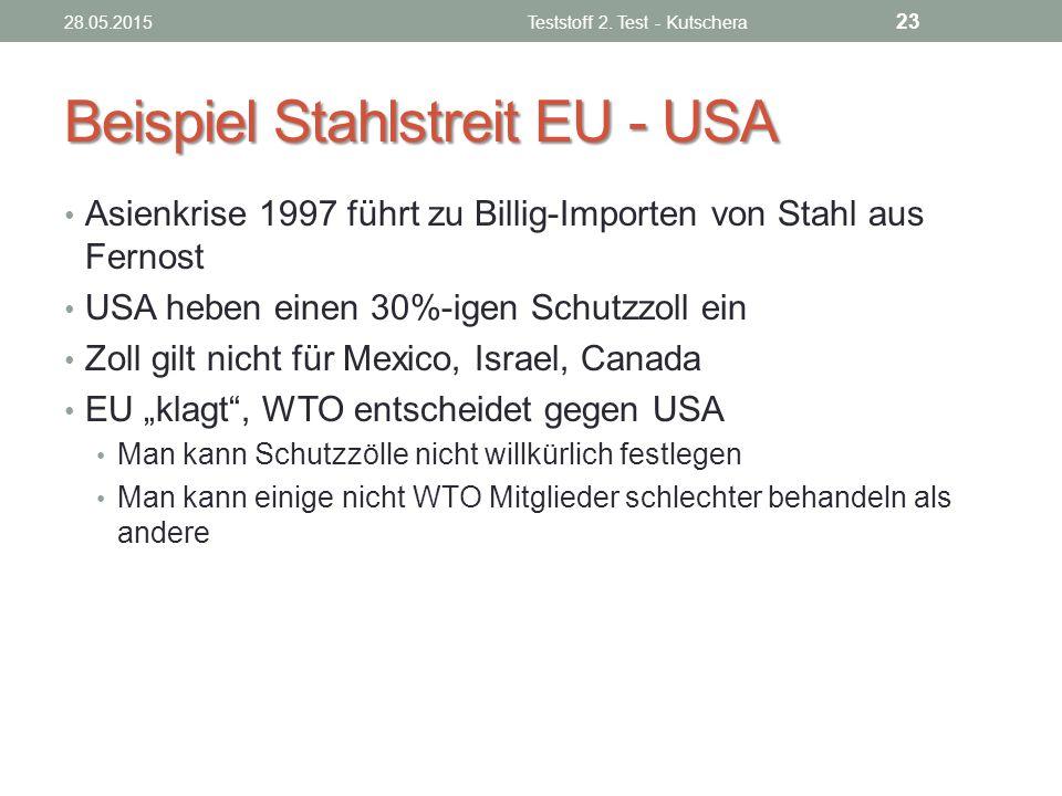 Beispiel Stahlstreit EU - USA Asienkrise 1997 führt zu Billig-Importen von Stahl aus Fernost USA heben einen 30%-igen Schutzzoll ein Zoll gilt nicht f