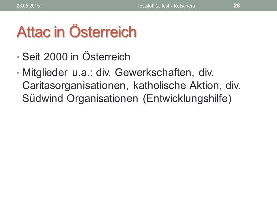 Attac in Österreich Seit 2000 in Österreich Mitglieder u.a.: div. Gewerkschaften, div. Caritasorganisationen, katholische Aktion, div. Südwind Organis