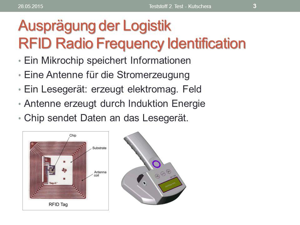 Ausprägung der Logistik RFID Radio Frequency Identification Ein Mikrochip speichert Informationen Eine Antenne für die Stromerzeugung Ein Lesegerät: e