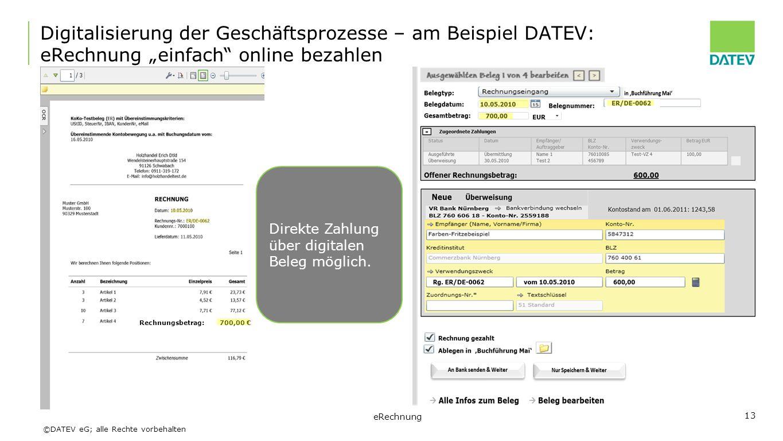 """©DATEV eG; alle Rechte vorbehalten eRechnung 13 Digitalisierung der Geschäftsprozesse – am Beispiel DATEV: eRechnung """"einfach"""" online bezahlen Rechnun"""