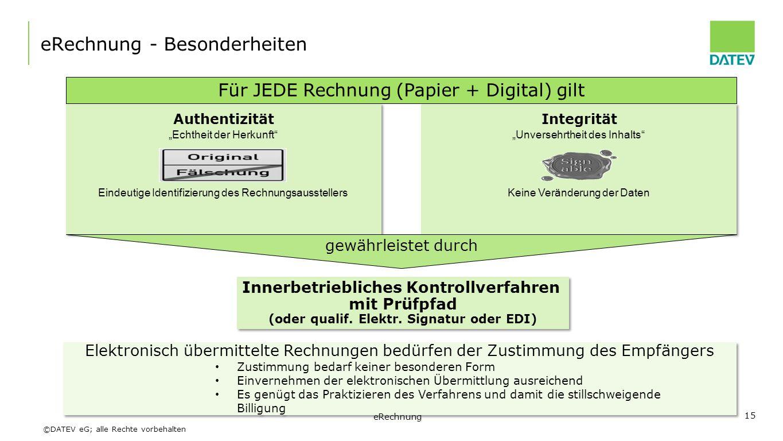 """©DATEV eG; alle Rechte vorbehalten eRechnung - Besonderheiten """"Echtheit der Herkunft"""" Eindeutige Identifizierung des Rechnungsausstellers Authentizitä"""