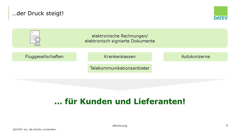 ©DATEV eG; alle Rechte vorbehalten 7 Verbreitung von eRechnungen in Deutschland Quellen: tns gallup/Itella 2008; Uni Hannover, Studie eRechnung 2008 Elektronische Rechnungsstellung durch kleine und mittlere Unternehmen (KMU) 8 % 22 % 43 % 0% 5% 10% 15% 20% 25% 30% 35% 40% 45% 50% 200620082011 + 21 % aktuell häufig Beibehaltung der Papierrechnung Unsicherheit bei Umgang mit eRechnungen eRechnung