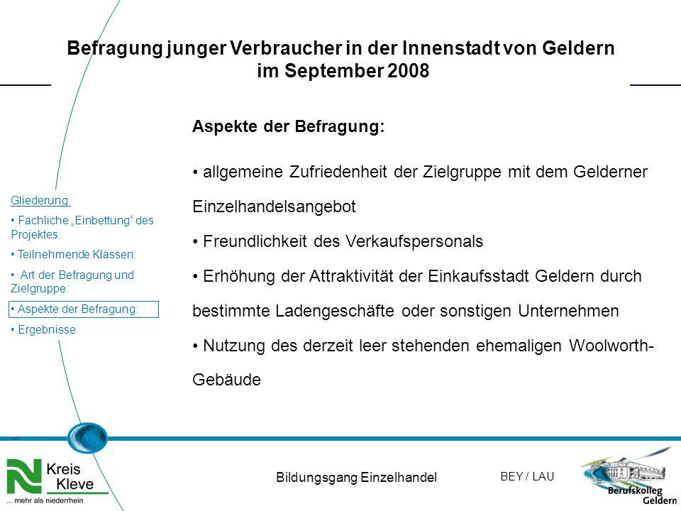 """W. Hamm Gliederung: Fachliche """"Einbettung"""" des Projektes: Teilnehmende Klassen: Art der Befragung und Zielgruppe: Aspekte der Befragung: Ergebnisse BE"""