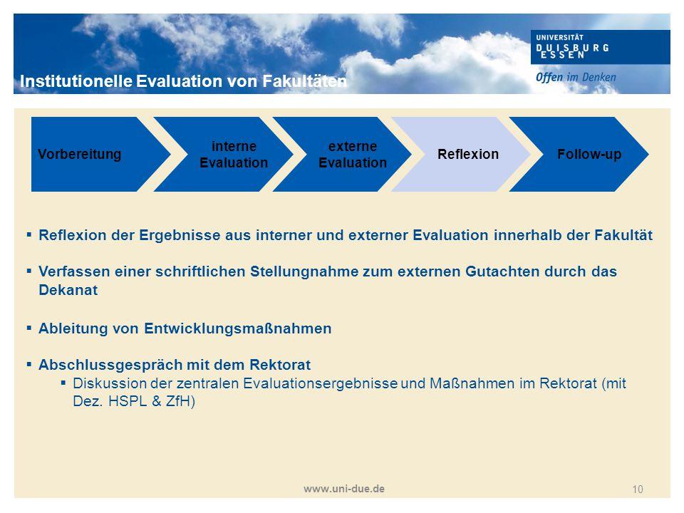 Titelmasterformat durch Klicken bearbeiten www.uni-due.de 10 Vorbereitung interne Evaluation externe Evaluation ReflexionFollow-up  Reflexion der Erg