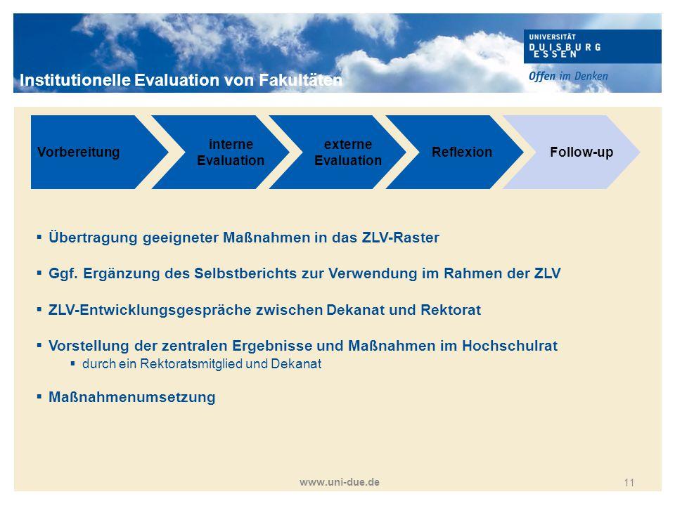 Titelmasterformat durch Klicken bearbeiten www.uni-due.de 11 Vorbereitung interne Evaluation externe Evaluation ReflexionFollow-up  Übertragung geeig