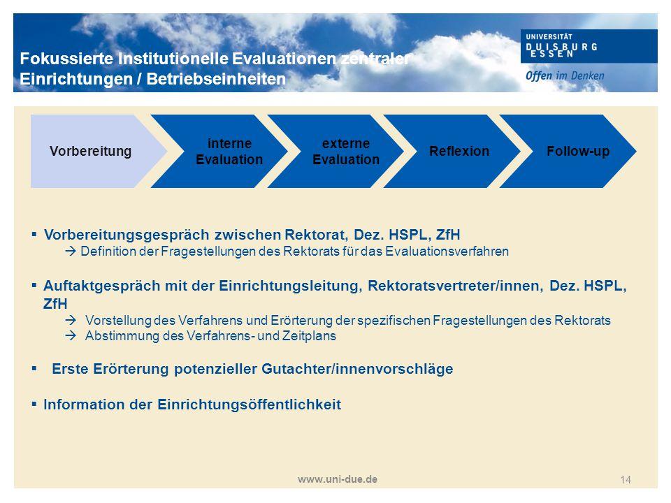 Titelmasterformat durch Klicken bearbeiten www.uni-due.de 14 Vorbereitung interne Evaluation externe Evaluation ReflexionFollow-up  Vorbereitungsgesp