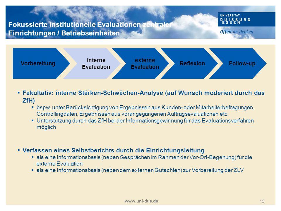 Titelmasterformat durch Klicken bearbeiten www.uni-due.de 15 Vorbereitung interne Evaluation externe Evaluation ReflexionFollow-up  Fakultativ: inter
