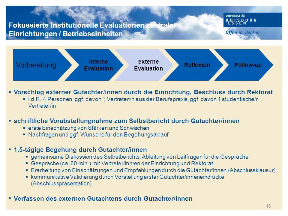 Titelmasterformat durch Klicken bearbeiten 16 Vorbereitung interne Evaluation externe Evaluation ReflexionFollow-up  Vorschlag externer Gutachter/inn