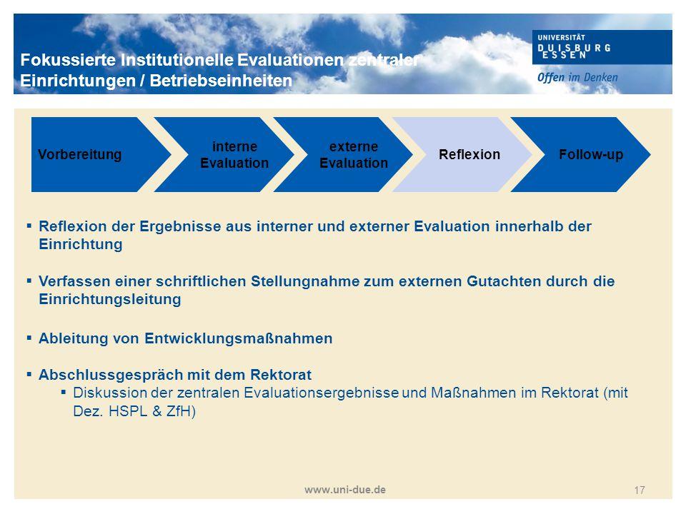 Titelmasterformat durch Klicken bearbeiten www.uni-due.de 17 Vorbereitung interne Evaluation externe Evaluation ReflexionFollow-up  Reflexion der Erg