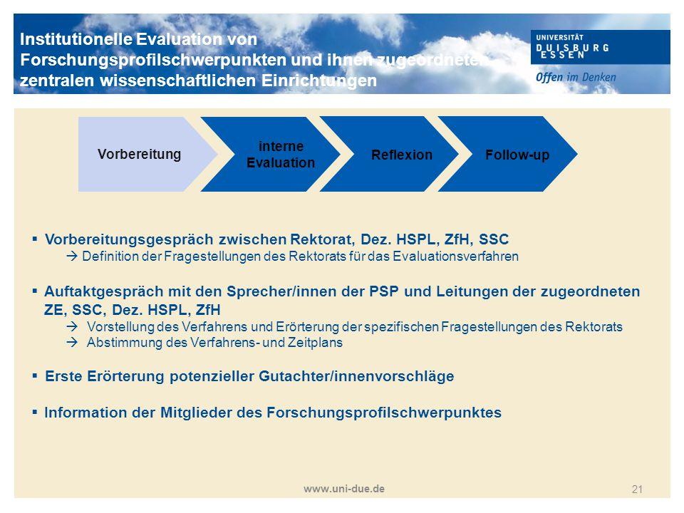 Titelmasterformat durch Klicken bearbeiten www.uni-due.de 21 Vorbereitung interne Evaluation ReflexionFollow-up  Vorbereitungsgespräch zwischen Rekto
