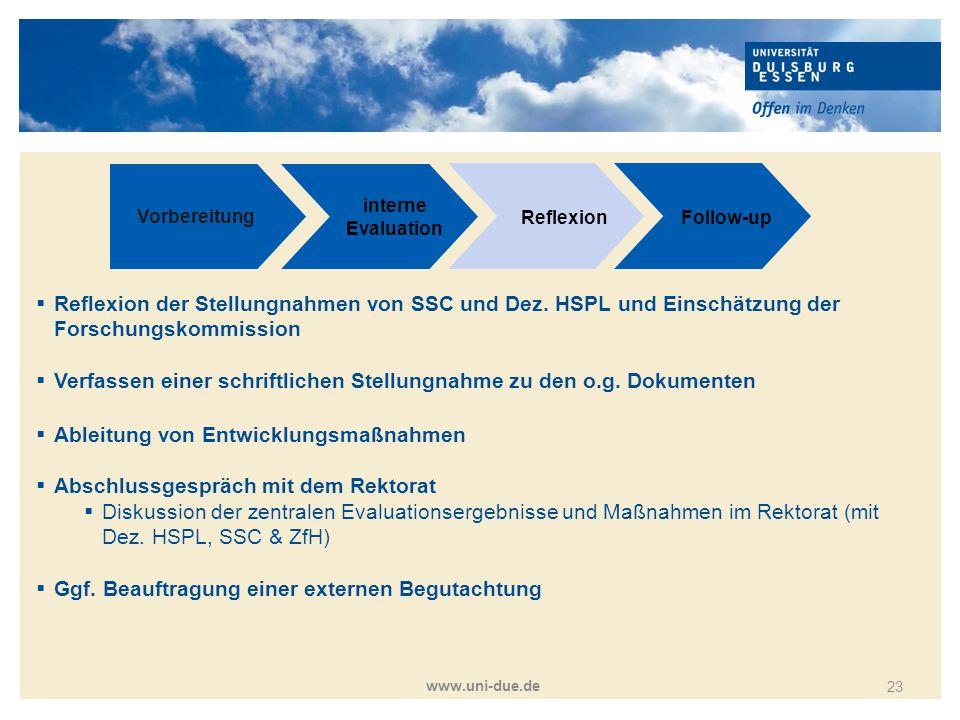 Titelmasterformat durch Klicken bearbeiten www.uni-due.de 23 Vorbereitung interne Evaluation ReflexionFollow-up  Reflexion der Stellungnahmen von SSC
