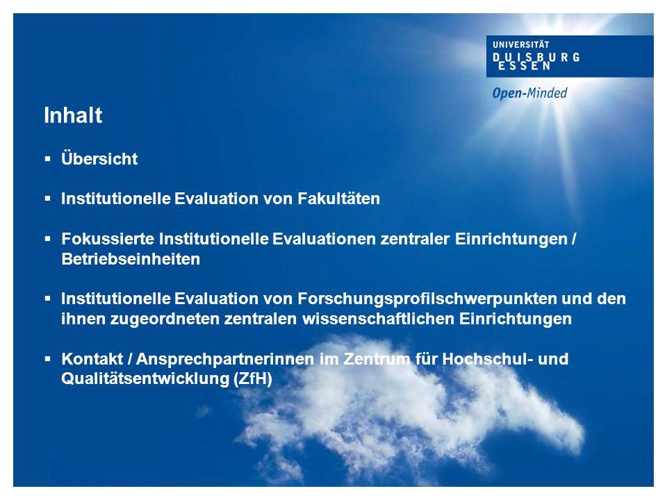 Titelmasterformat durch Klicken bearbeiten www.uni-due.de 14 Vorbereitung interne Evaluation externe Evaluation ReflexionFollow-up  Vorbereitungsgespräch zwischen Rektorat, Dez.