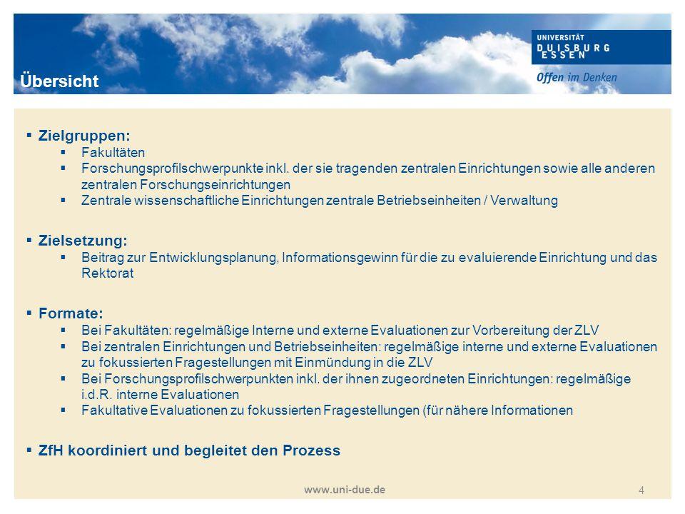 Titelmasterformat durch Klicken bearbeiten www.uni-due.de 4  Zielgruppen:  Fakultäten  Forschungsprofilschwerpunkte inkl. der sie tragenden zentral