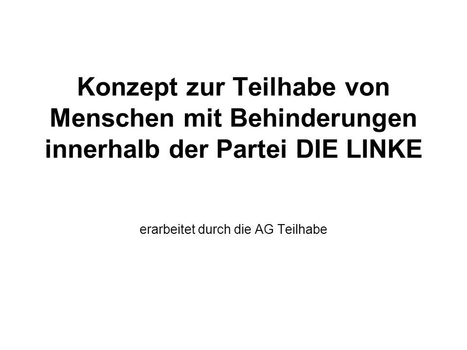 Konzept zur Teilhabe von Menschen mit Behinderungen innerhalb der Partei DIE LINKE erarbeitet durch die AG Teilhabe