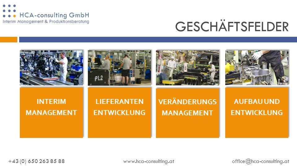 HCA-consulting GmbH UNTERNEHMENSPRÄSENTATION Interim Management & Produktionsberatung HCA-consulting GmbH www.hca-consulting.at