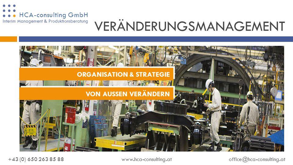 HCA-consulting GmbH +43 (0) 650 263 85 88www.hca-consulting.atoffice@hca-consulting.at Interim Management & Produktionsberatung LIEFERANTENENTWICKLUNG QUALITÄT | PRODUKTIVITÄT | LIEFERTREUE WIR KÜMMERN UNS UM IHRE ANLIEGEN