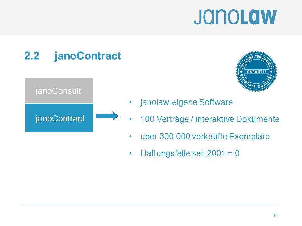 10 2.2 janoContract janoConsult janoContract janolaw-eigene Software 100 Verträge / interaktive Dokumente über 300.000 verkaufte Exemplare Haftungsfäl