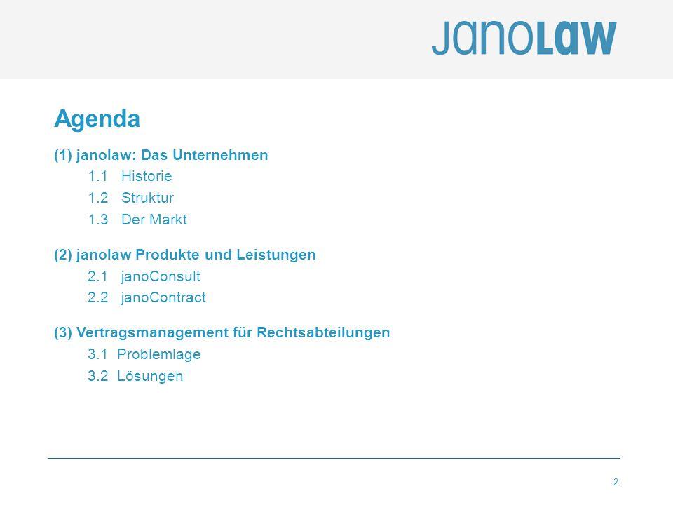 2 Agenda (1) janolaw: Das Unternehmen 1.1 Historie 1.2 Struktur 1.3 Der Markt (2) janolaw Produkte und Leistungen 2.1 janoConsult 2.2 janoContract (3)