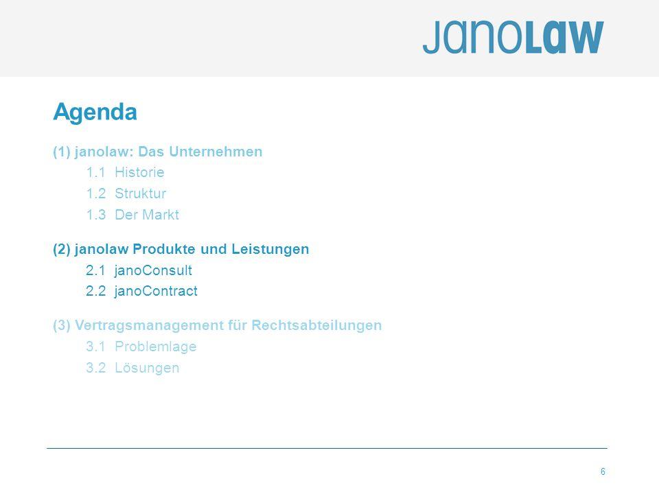6 Agenda (1) janolaw: Das Unternehmen 1.1 Historie 1.2 Struktur 1.3 Der Markt (2) janolaw Produkte und Leistungen 2.1 janoConsult 2.2 janoContract (3)
