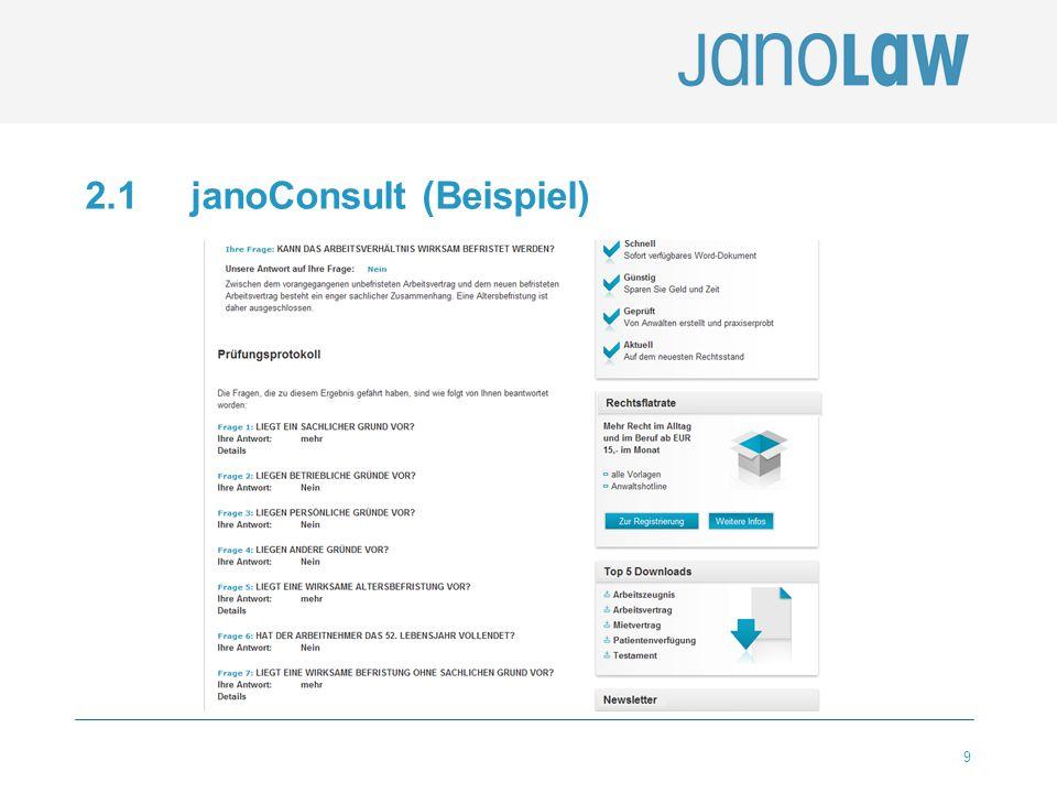 10 2.2 janoContract janoConsult janoContract janolaw-eigene Software 100 Verträge / interaktive Dokumente über 300.000 verkaufte Exemplare Haftungsfälle seit 2001 = 0